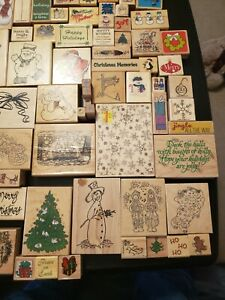 Lot of 200+, Christmas & Holiday Wood Mounted Rubber Stamps, Assorted