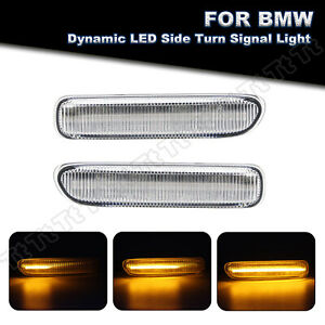 Sequential Amber LED Side Marker Turn Signal Lights For 98-2006 BMW 3 Series E46