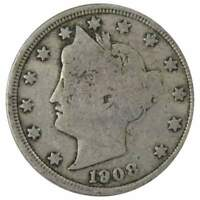 1908 Liberty Head V Nickel 5 Cent Piece AG About Good 5c US Coin Collectible