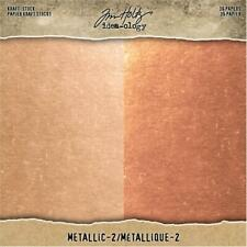 "Tim Holtz Idea-ology 'METALLIC 2' Cardstock Paper Pad 8x8"" Rose Gold/Coppery"