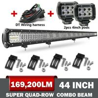 10D+Quad-Row 44''  LED Light Bar Spot Flood Driving Offroad 4x4 Roof VS 42 40''