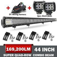 10D+Quad-Row 44''  LED Light Bar Spot Flood Driving Offroad 4x4 Roof VS 42 40''