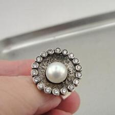Hadar Designers 925 Sterling Silver White Pearl Zircon Ring size 8, 8.5 () SALE