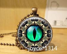 Vintage dragon eyes Cabochon bronze Glass Chain Pendant Necklace #563
