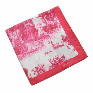Kiton Silk Pocket Square in Fuchsia and White with Sailing Warships