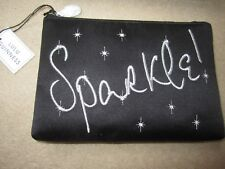 LULU GUINNESS - SPARKLE - BLACK SATIN ZIP TOP POUCH / MAKE UP BAG / CLUTCH - NEW