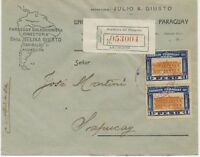 PARAGUAY 1923 1 P. government building (2x) multiple postage VF R-cover ASUNCION