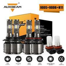 AUXBEAM 9005 +9006 +H11 H8 Canbus LED Headlight Fog Bulb Kit 6000K High Low Beam