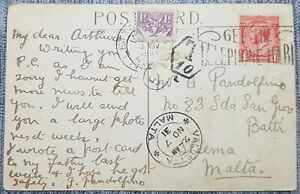 1931 KGV GB - Malta bisected Cancelled 1d Postage due + PPH 56 + T/10 Tax
