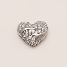 Natural Russian White Topaz Love Heart Charm Pendant 925 Sterling Silver Jewelry
