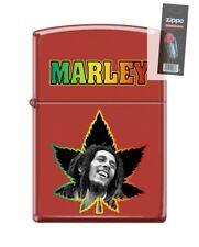 Zippo 7677 Bob Marley Marijuana Leaf Red Matte Finish Lighter + FLINT PACK