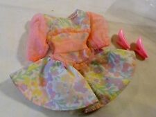 BARBIE DOLL SIZE PASTEL FLOWER PRINT DRESS PINK SHEERY SLEEVES & SHOES