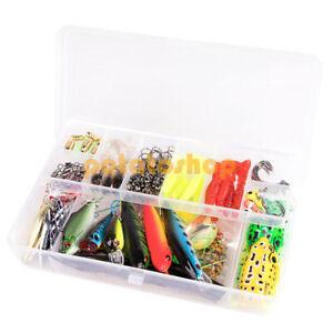 103pcs Freshwater Fishing Tackle Kits Box Bullets Spoon Popper Grubs All Purpose