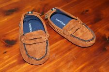 Nautica Tiny Pryson BABY Shoes Pre-Walker Slip On Crib Brown Penny Loafer Sz 4