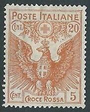 1915-16 REGNO PRO CROCE ROSSA 20+5 CENT MH * - G190-2