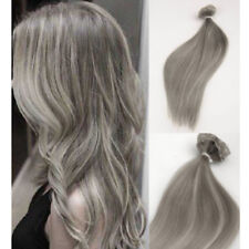 Grey Clip in THICK Double Weft Human Hair Extensions Full Head Highlight 100g