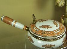 Oriental Porcelain Enamel Crumb Catcher Silent Butler ORANGE w Brass & GOLD TRIM