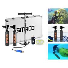 Double Scuba Diving Tank 0.5L Oxygen Cylinder Snorkeling Mask Air Pump Kit Black