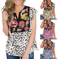 Women VNeck Loose Sleeveless Leopard Patchwork Floral Print Blouse T-shirt Top