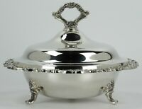 Silverplate Webster Wilcox Footed Round Covered Casserole Dish With Glass