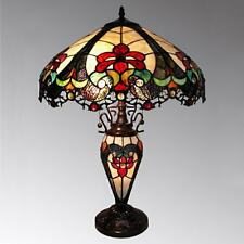 Tiffany Style Traditional Victorian 2 Light Table Lamp Red Amber Stained Glass