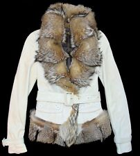 BURBERRY PRORSUM Cream Nappa Lamb Leather Jacket w/ Fox Fur Trim   IT 36 US 2