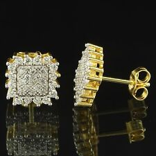 Prong Set Earrings 14k Gold Finish Sterling Silver Simulated Diamond 10mm New