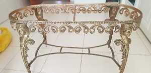 Brass antique vintage coffee table metal base