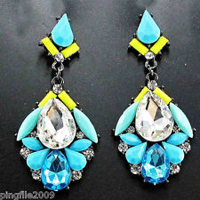 """New Design Lady Mix Crystal Bling Rainbow Drop/Dangle Neon Earring 2 1/2"""" 251"""