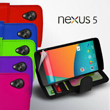 6 Colour Side ID Wallet Leather Case Cover for LG Google Nexus 5 D821 Screen GD