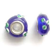 10 Azul Murano Cristal Cuentas 14x9mm agujero 5mm