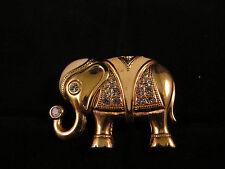 Vintage Elephant Brooch Pin Pendant KJL for Avon Gold Tone Rhinestone Enamel