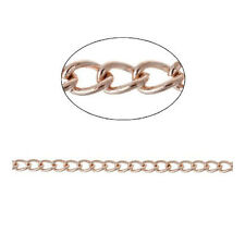 5m x Rose Gold Anti Tarnish Brass 3 x 4mm Open Curb Chain CH2985