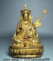 """7,6"""" Tibet Bouddhisme Cuivre Doré Gourou Padmasambhava Rinpoché Bouddha Statue"""