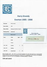 HARRY GRUNDY EVERTON 1905-1908 EXTREMELY RARE ORIGINAL HAND SIGNED CUTTING/CARD