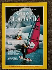 National Geographic magazine March 1988 Anchorage, China by Rail, Falklands