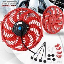 "12"" Universal 12V Slim Pull Push Racing Electric Radiator Engine Cooling Fan Red"
