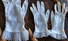 Vtg Pair White Cream Nylon Accordion Chiffon Ruffle Wrist Gloves Garden Party