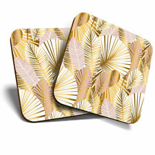 2 x Coasters - Gold Art Deco Palm Leaves Home Gift #2456