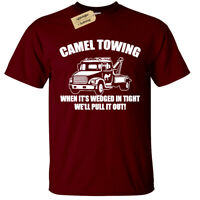 CAMEL TOWING T-Shirt funny Mens Rude Joke Novelty top gift present humour