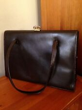 Ladies bag vintage 1950s brown leather Kelly bag/box frame handbag rockabilly