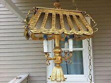 Vintage Large Falkenstein Metal, Wood & Glass Hanging Swag Light / Lamp, Tested