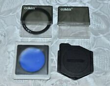Vintage Cokin Series A Filter Holder with 49mm ring & 3 filters (056, 230, 80a)