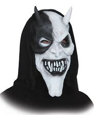 Mens White Black Evil Devil Hooded Latex Halloween Fancy Dress Costume Mask
