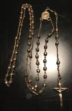 12.80g Vintage Sterling Silver Rosary Beads Crucifix Chain Necklace