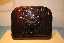 NEW LOUIS VUITTON ALMA PM Amarante LEATHER MONOGRAM HANDBAG - NO TAXES