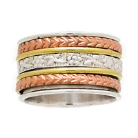Meditation Spin Ring 925 Sterling Silver Two Tone Jewelry SMR27