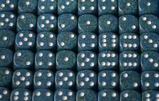 Sea Blue Speckled 16mm D6 RPG Chessex Dice (10 Dice) Sea Blue Green with White