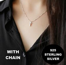 Sterling Silver 925 Small Plain Cross Women's Ladies Pendant Necklace