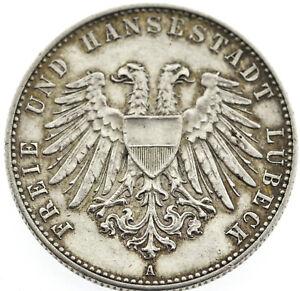 Rarität 2 Mark Silber Deutsches Reich 1901 Freie und Hansestadt Lübeck A Prägung